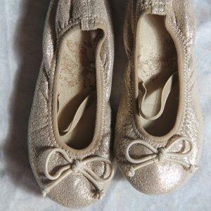 Gold sparkly toddler flats ballerinas
